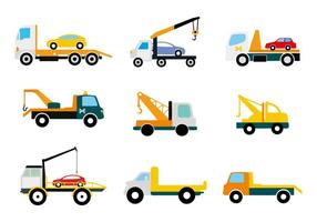 Flat Truck Tow Icons Vector