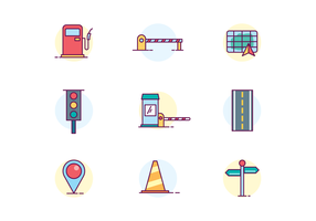 Traffic & Roads Icons vector