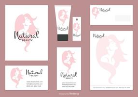Woman Face Silhouette Corporate Identity Vector Set
