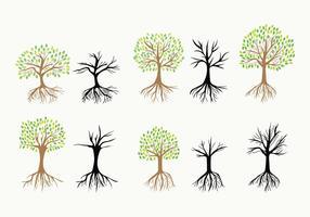 Träd med rötter vektorikoner