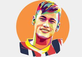 Neymar Jugador de fútbol vector Popart retrato