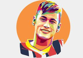 Neymar Jogador de Futebol Vector Popart Retrato