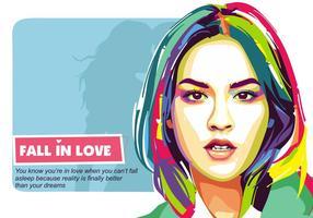 Vallen in de liefde Vector Popart Portret