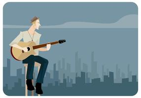 Jonge Man Zingen En Spelen Gitaar Vector