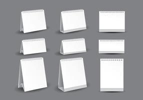 Vectores de plantilla de calendario de escritorio en blanco