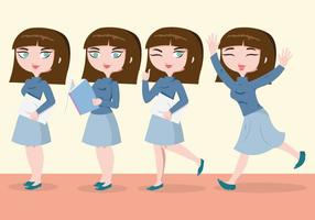 Student Woman Characters Vector
