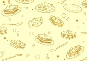 Outline Square Tiramisu Pattern Free Vector