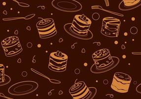 Outline Tiramisu Cake Pattern Free Vector