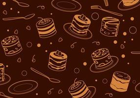 Översikt Tiramisu Cake Pattern Free Vector