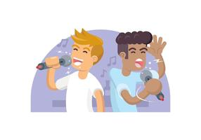 Two Friends Singing Karaoke Illustration