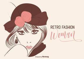 Woman Retro Fashion Portrait Vector Illustration