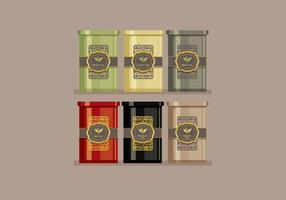 Lata, caixa, chá, vetorial