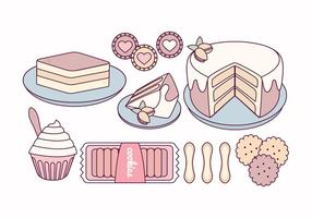 Vector Tiramisu and Sweets Illustration
