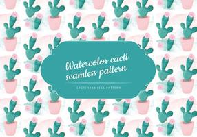 Vector Watercolor Cactus Pattern