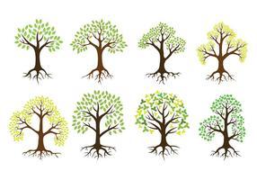 Árvore com ícones do vetor das raizes
