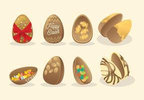 Ovos De Páscoa De Chocolate Vector
