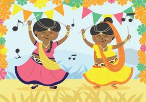 Garba Dancer Vector Illustration