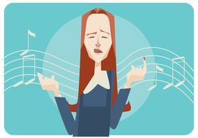 Mulheres, cantando, vetorial, fundo