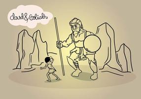 David en Goliath Line Art Illustratie