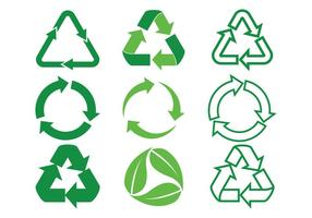 Ícones vetoriais de setas biodegradáveis configurados
