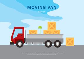 Flytta Van eller Truck Service Vector Illustration