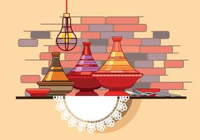 Moroccan Tajine Collection with Spoon and Fork in Front of Restaurant Wall vector