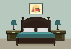 Bedroom With Furniture Vector Illustration