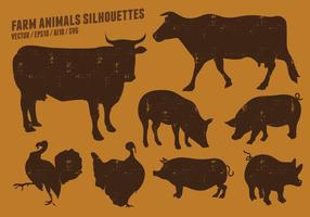 Farm Animal Silhouettes Collection vector