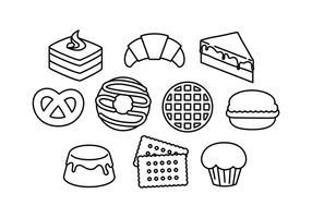 Vetor livre de ícones de linha de sobremesas