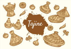 Mano libre dibujado vector Tajine