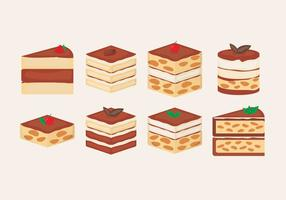 Tiramisu cake slice vector illustration