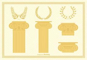 Korinthische Kapitalspalten und Kränze