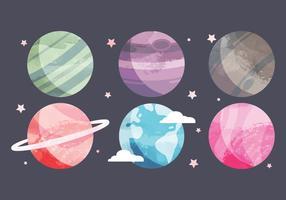 Colección de planetas de acuarela vectorial