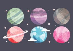 Vector Watercolor Planets Collection