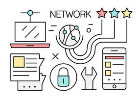 Iconos vectoriales Linear Global Networking gratis