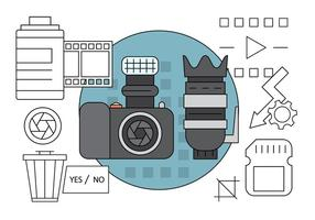 Free Linear Photography Icons vector
