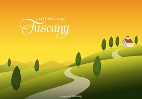 Tuscany Rural Landscape With Fields And Hills Vector