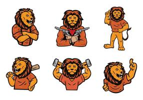 Lion Logo Vector Set