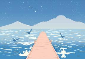 Boardwalk on the Sea Vector Illustration