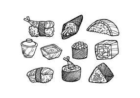 Vettore disegnato a mano dell'icona dell'alimento giapponese libero