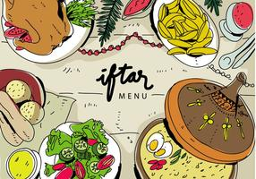 Iftar Ramadhan Menu Food On Traditional Tajine Vector Illustration