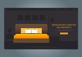 Gult sovrum och möbler webbgränssnitt