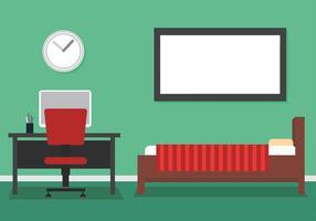 Dormitorio y el espacio de trabajo Vector Libre
