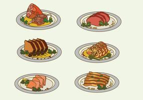 Carne de charcutería en la ilustración vectorial placa