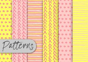 Yellow-and-pink-decorative-pattern-set