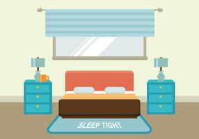 Flat Bed Met Headboard Gratis Vector