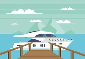 Boardwalk naar een boot Gratis Vector