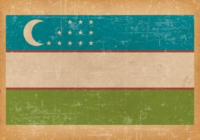 Old Grunge Flag of Uzbekistan