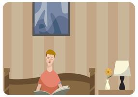 Man Lezen Een Boek In Bed Vector