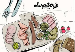 Charcuterie Koken Ingredient Vlees Hand Getrokken Vector Illustratie